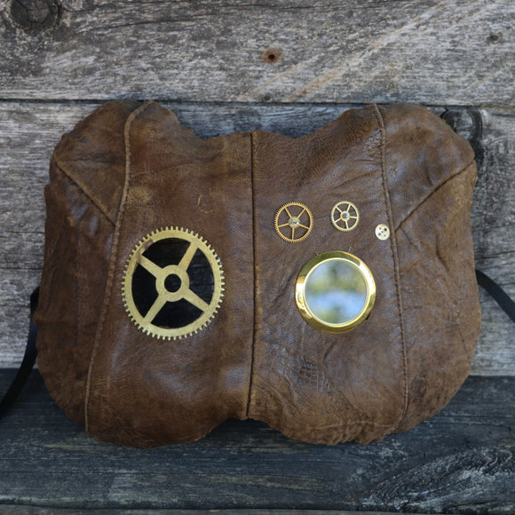 Steam Kitty, brown leather Steampunk cat mask