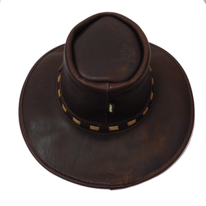 RRogue Outdoor Explorer - Full Grain Waxed Leather Broad Brim in Oxblood with Chinstrap Hat