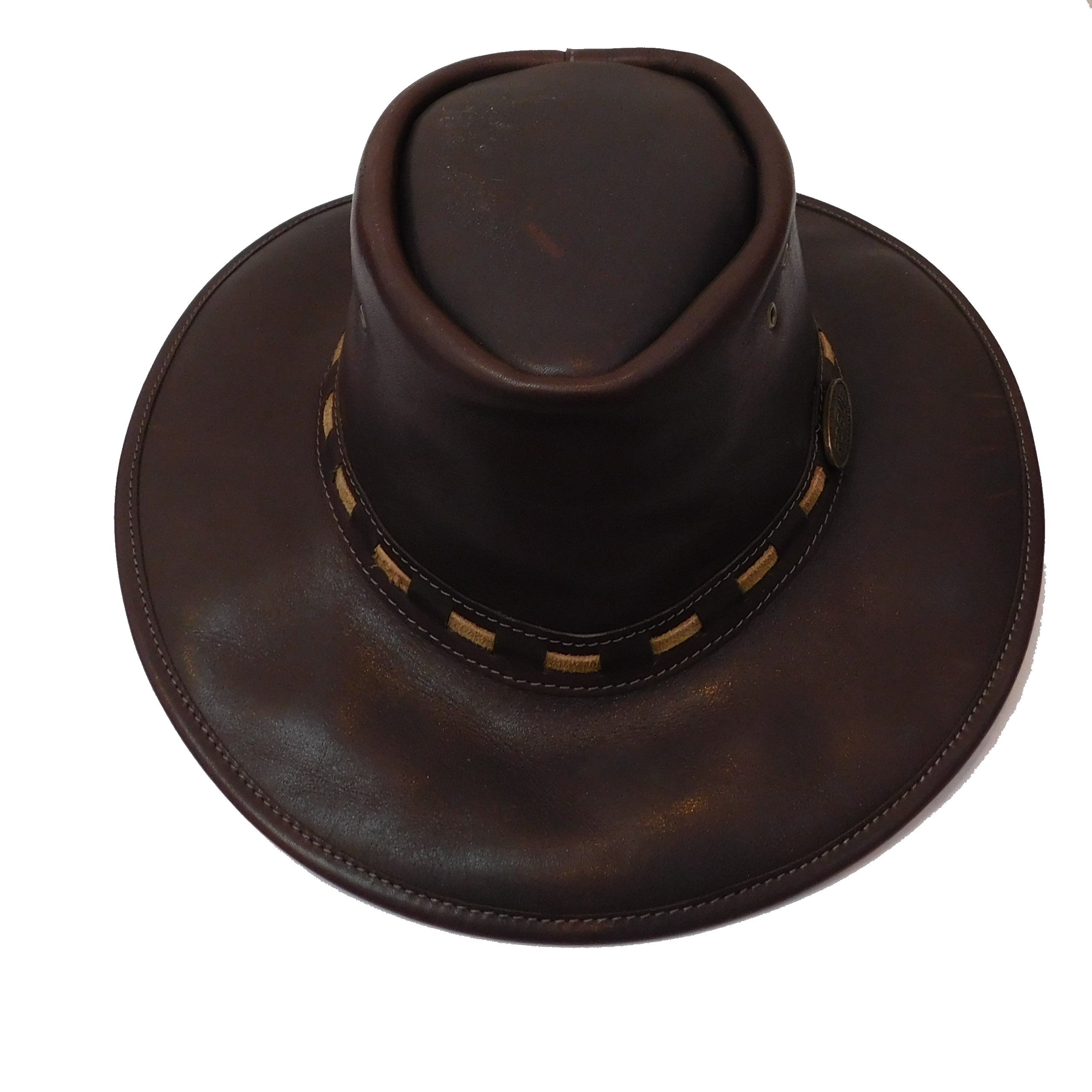 Rogue Outdoor Explorer - Full Grain Waxed Leather Broad Brim in Oxblood with Chinstrap Hat