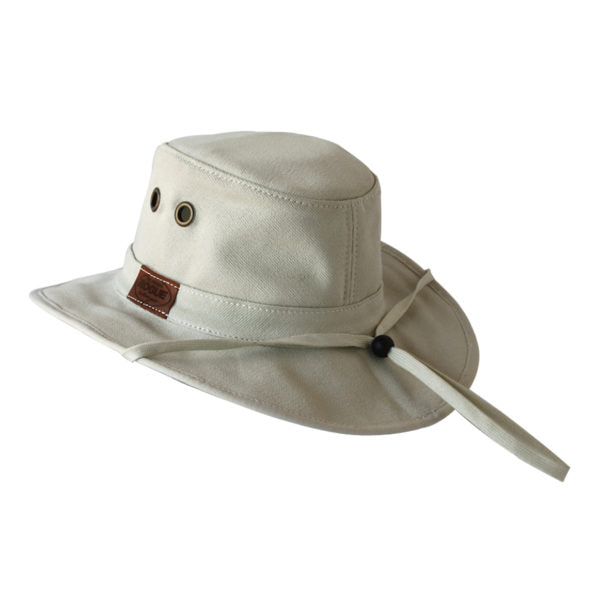 "Rogue Outdoor Munda in Bone Wide Brim Cotton ""Tillie"" Style Hat with Hidden Pocket and Chinstrap"