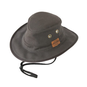 "Rogue Outdoor Munda in Slate Gray Wide Brim Cotton ""Tillie"" Style Hat with Hidden Pocket and Chinstrap"
