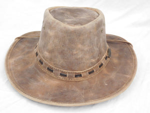 Wide Brim Full Grain Rugged Leather Hat - The Rogue Colorado