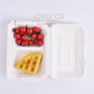 Pack 25 pièces : Lunch box, 2 compartiments, 230mm / 150mm / 80mm