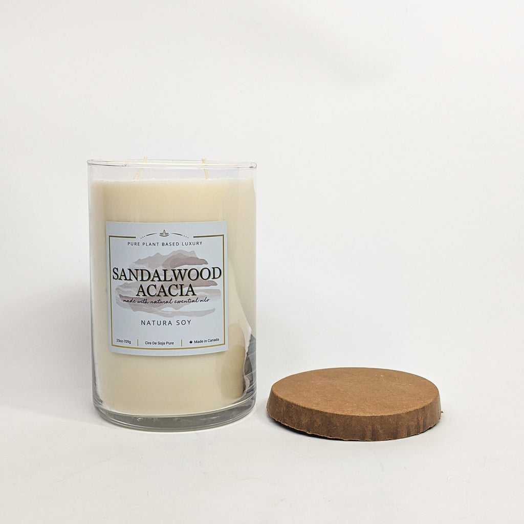 Sandalwood Acacia Pillar Jar Candle 25 oz