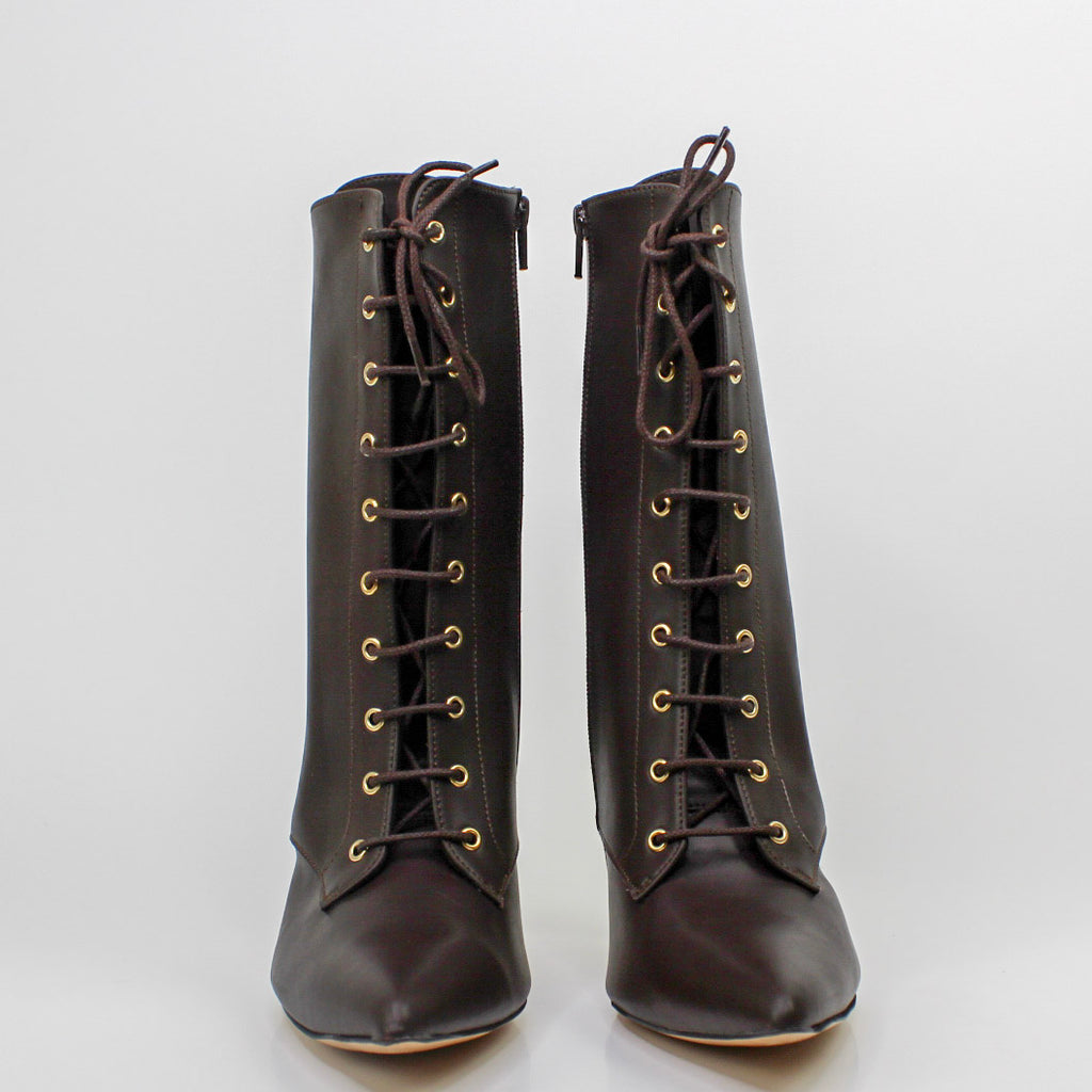 Zip Lace-Up Boots Brown