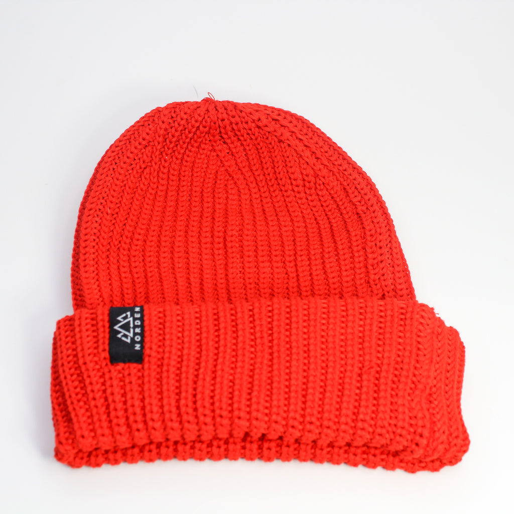 Nisse Rib Knit Recycled Beanie Red