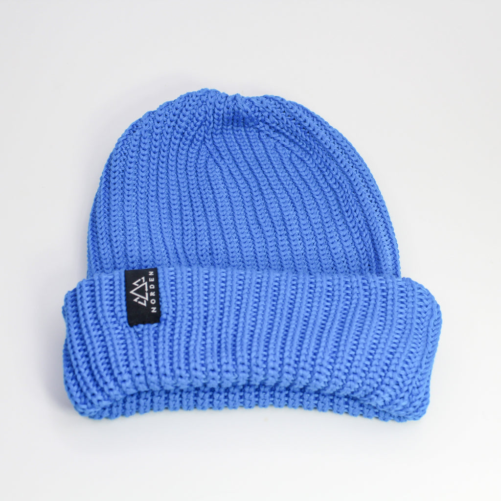 Nisse Rib Knit Recycled Beanie Blue