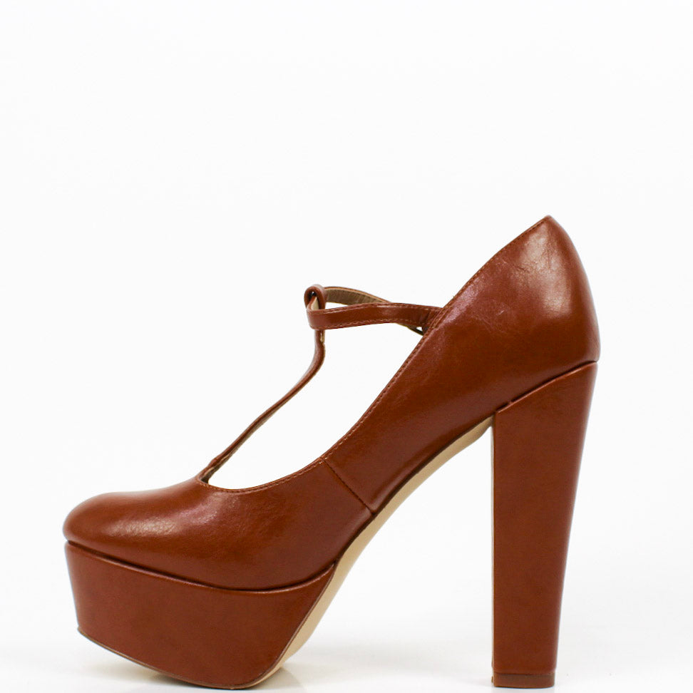 Margaret T-Bar Platform Heels Brown