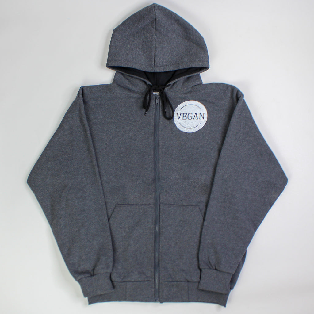 Vegan In A Circle Zip-up Hoodie Dark Grey