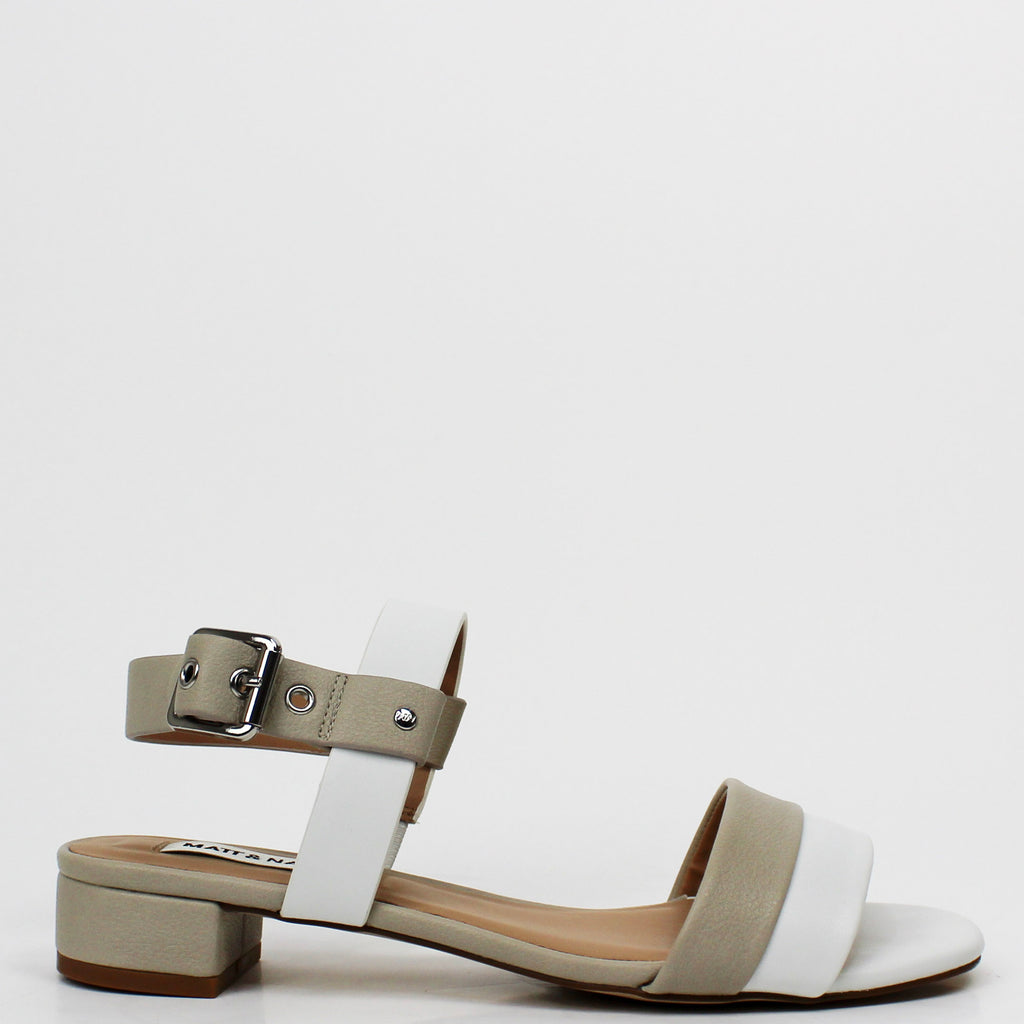 Jojo Low Block Heel Sandals White