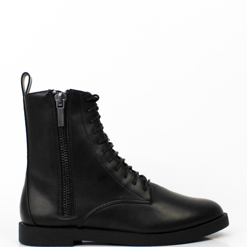 Morton Combat Zip-Up Boots Black
