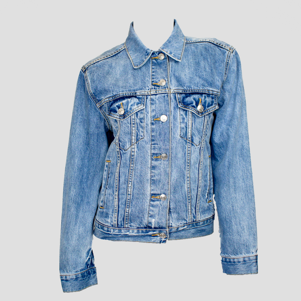 "Lindsay ""Vegan"" Patch Denim Jacket"