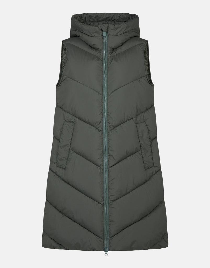 RECYCLED Longline Vest Thyme Green