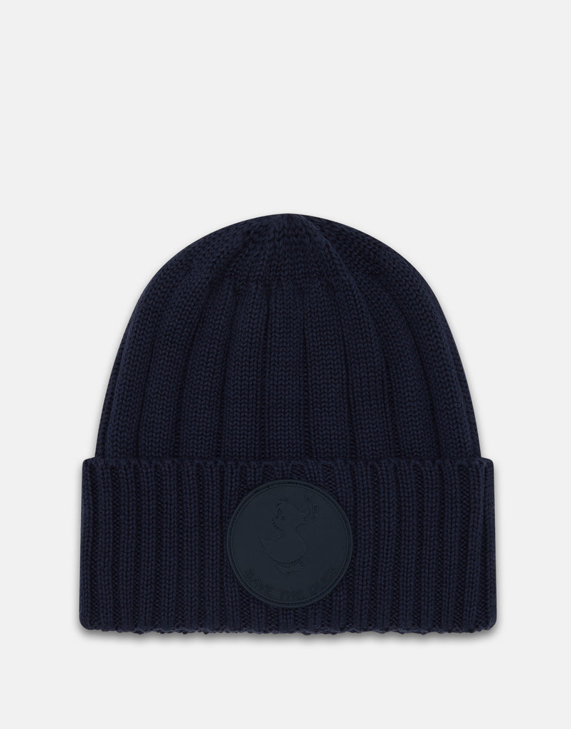 Rib Knit Cotton Beanie Navy Blue