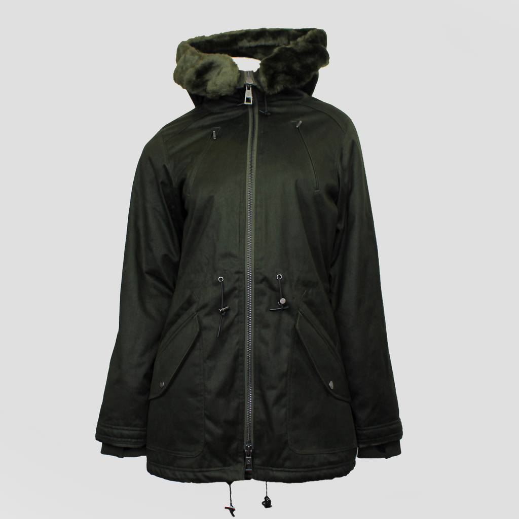 Ladies' W19 Parka Deep Army Green/Green Satifur