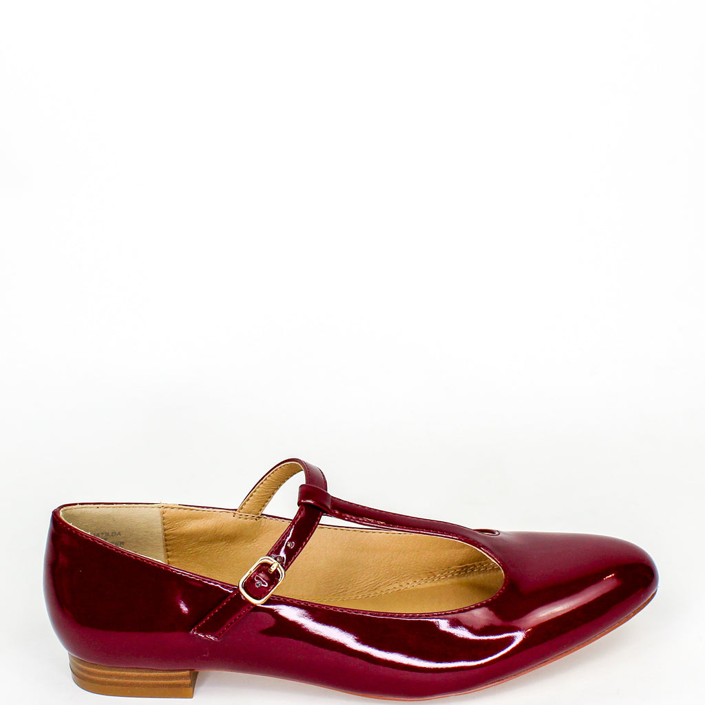 Matilda T-Bar Mary Jane Flats Burgundy