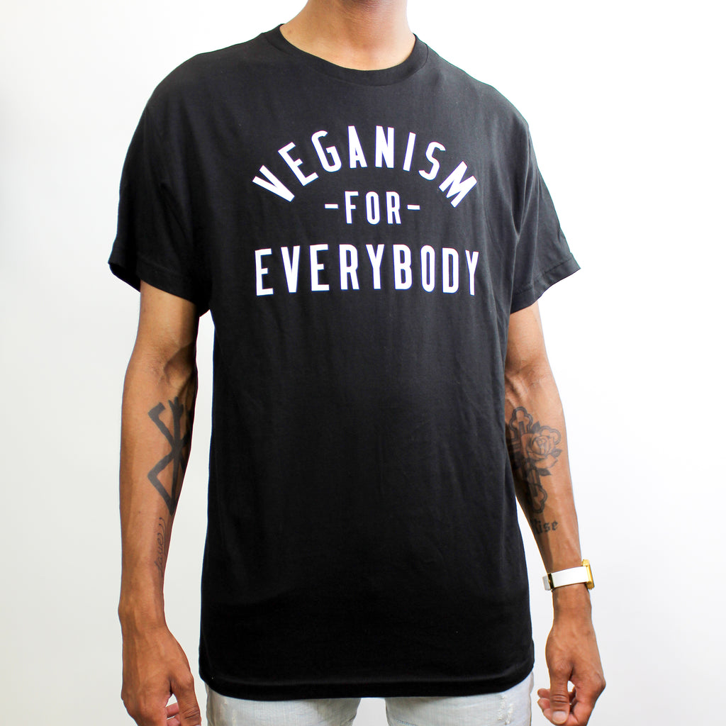 Veganism For Everybody T-Shirt Black/White Font