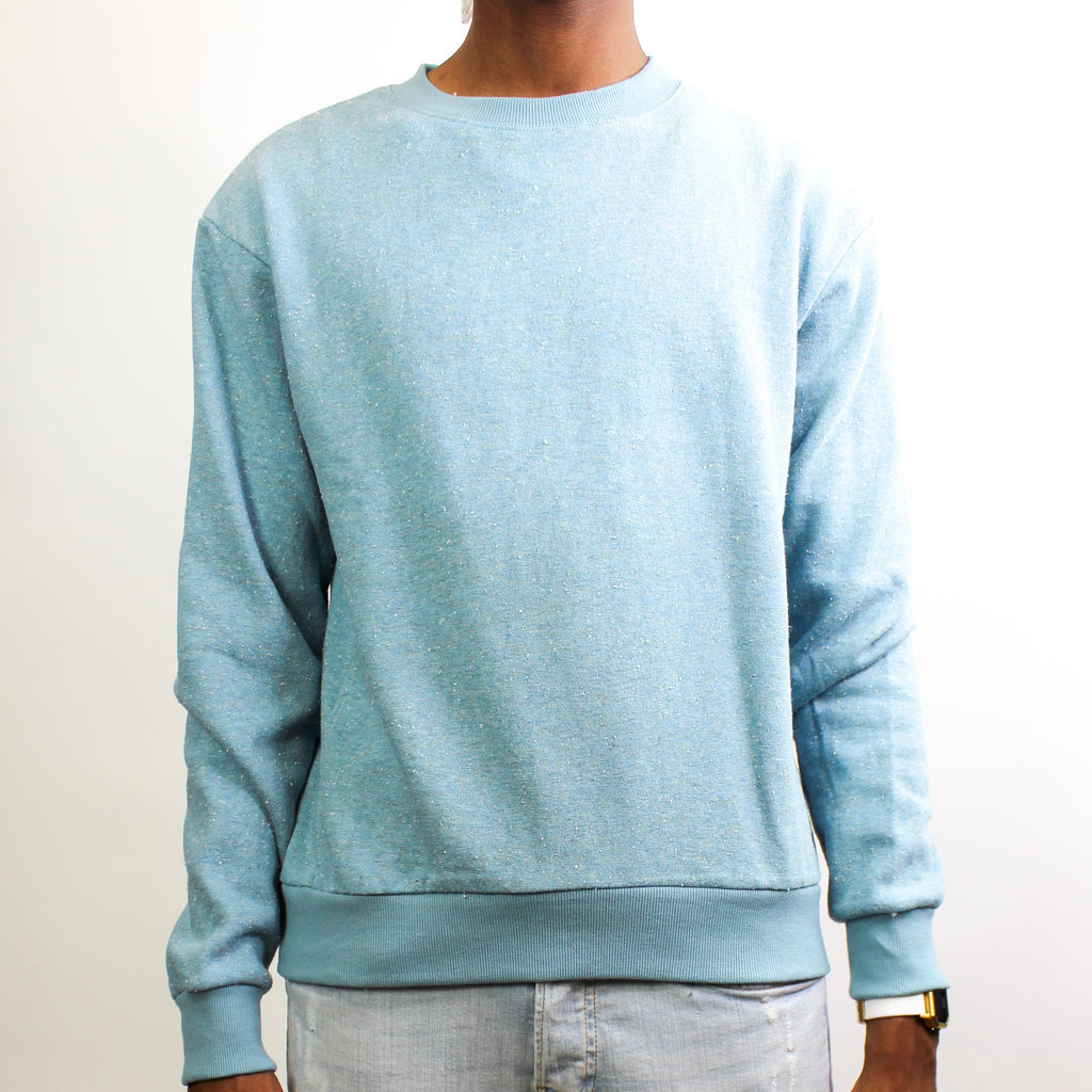 Men's Light Crewneck Sweater Clear Blue Fleck