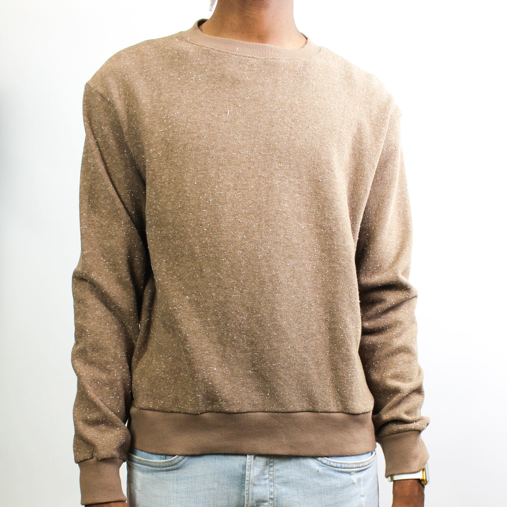 Men's Light Crewneck Sweater Tan Fleck