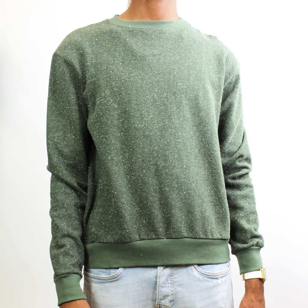 Men's Light Crewneck Sweater Olive Fleck
