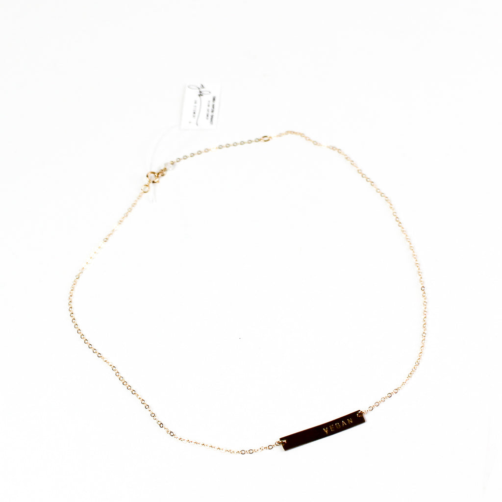'VEGAN' Bar  14k Gold Fill Necklace