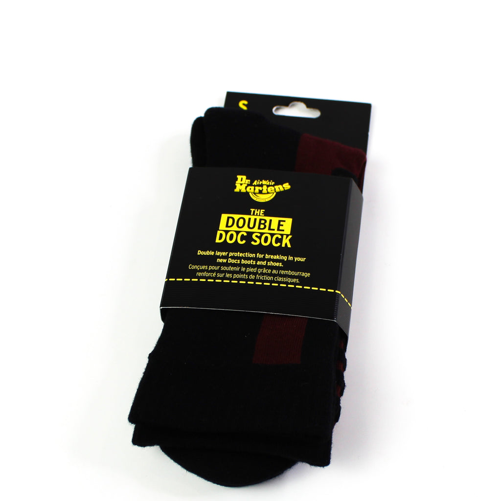 Double Doc Socks Black/Cherry Red
