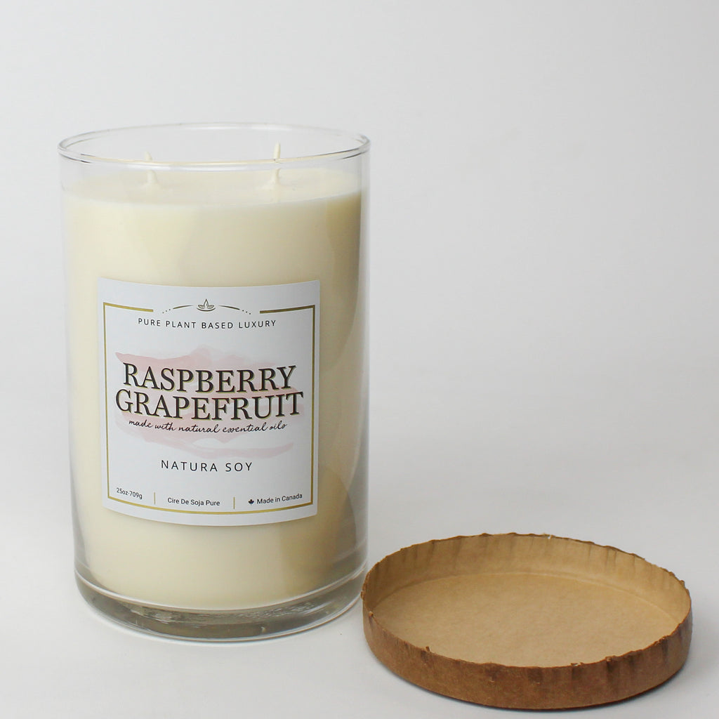 Raspberry Grapefruit Pillar Jar Candle 25 oz