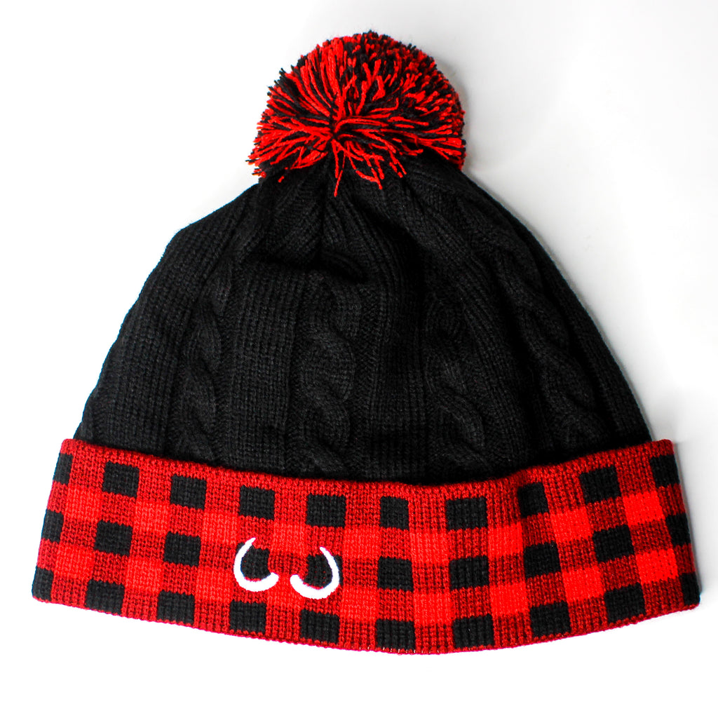 Squirrel Toque Black Plaid