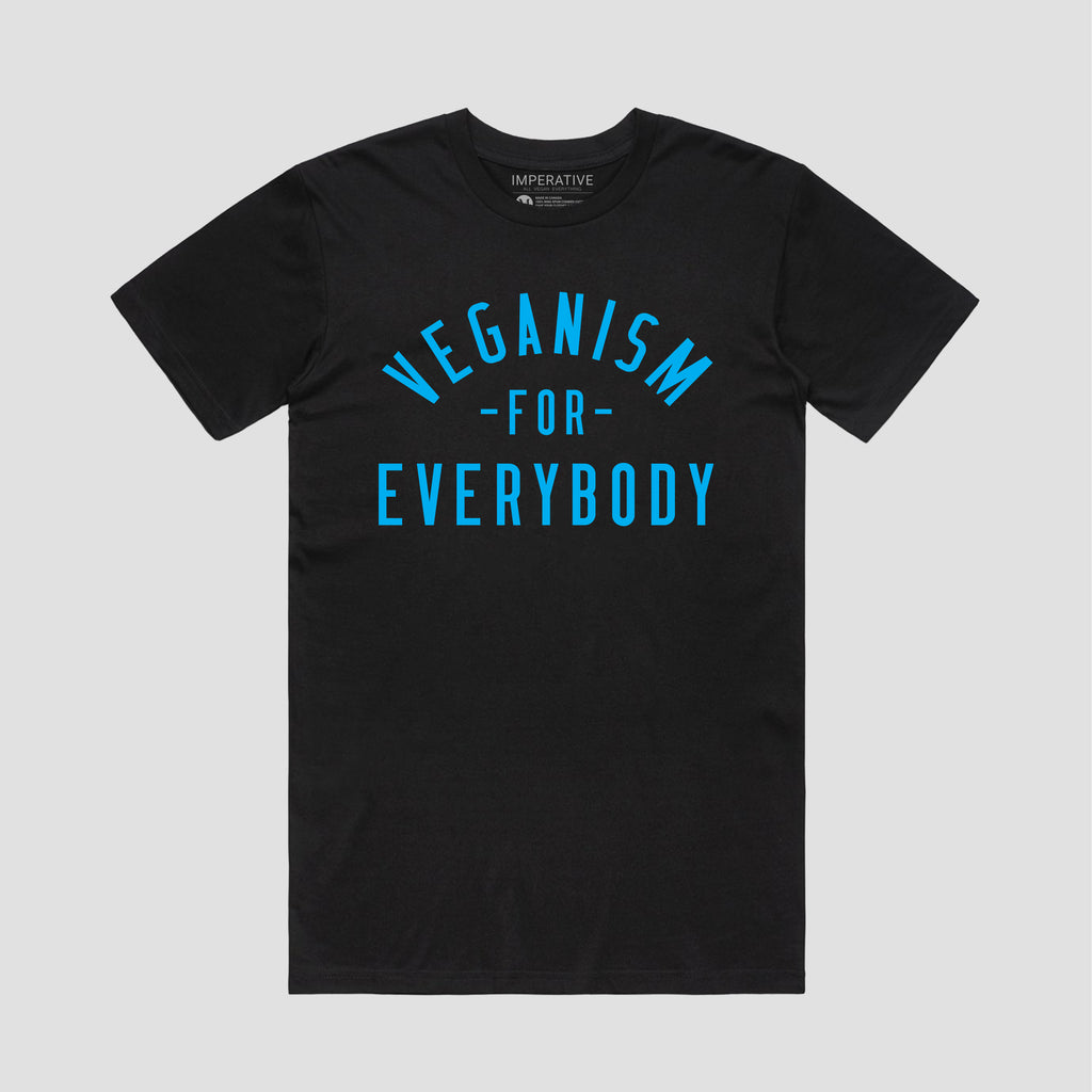 Veganism For Everybody T-Shirt Black/Blue Font