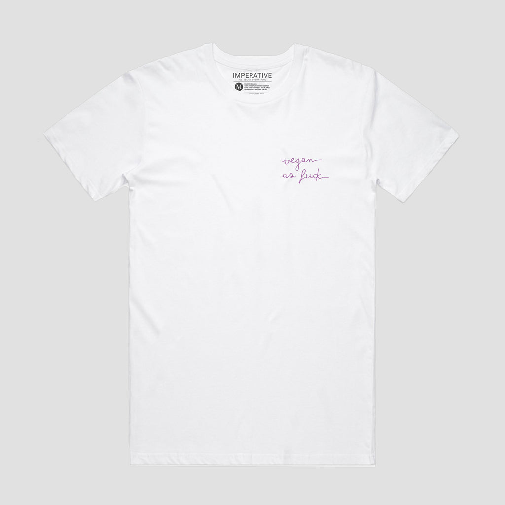 Vegan As Fuck Small Script T-Shirt White