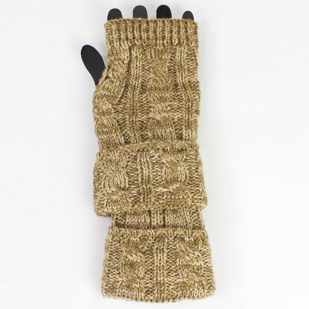 Knit Fingerless Gloves Brown (pair)