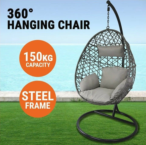 Hanging Egg Chair Swing Hammock Cushion Rattan Wicker Indoor Outdoor Lounge Brow