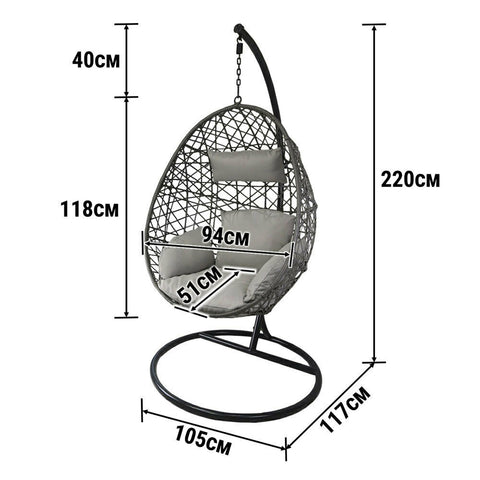 dimension Hanging Egg Chair Swing Hammock Cushion Rattan Wicker Indoor Outdoor Lounge Brow