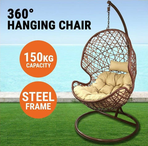 hanging egg swing chair rattan latte brown