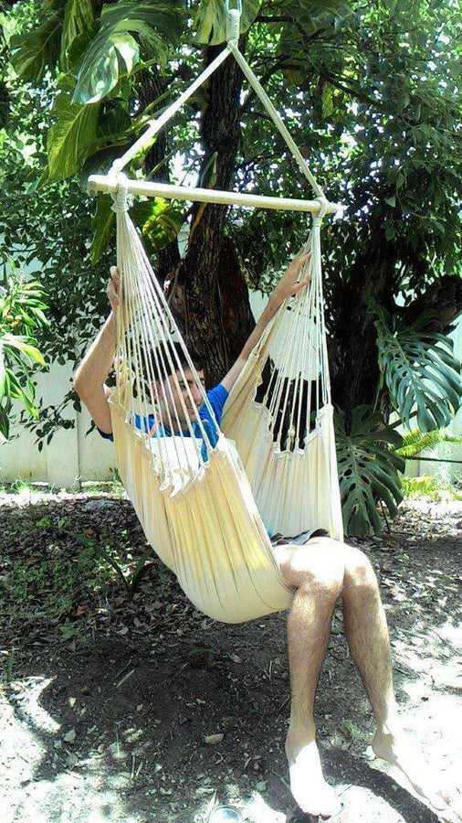 Beige Canvas Hammock Chair with Pillows