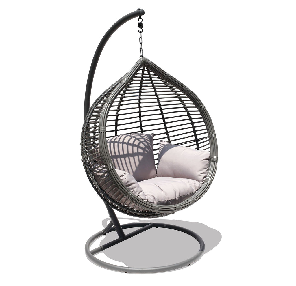 Oceana Outdoor Hanging Egg Chair In Slate Grey With Stand - Siesta Hammocks