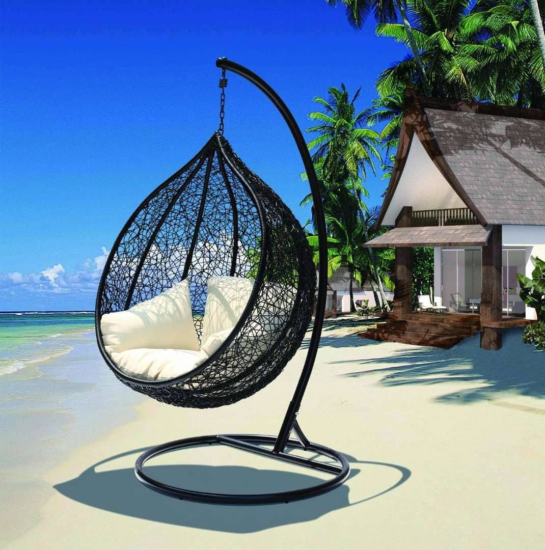 hanging egg chair infront of the beach