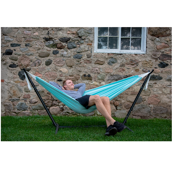 Polyester Double Hammock with Stand in Aqua Colour (2.7m)