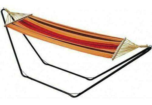 Single Size Cotton Canvas Hammock with Wooden Spreader Bar