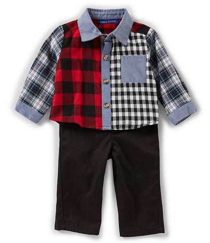 Boys Flannel Shirt Set with Twill Pants