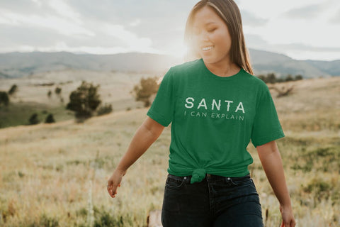 Santa, I Can Explain T-Shirt in Green