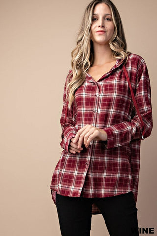 Button Down Hoodie in Wine Red