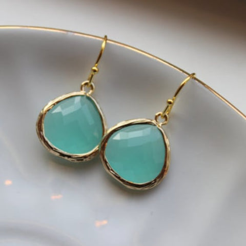 Gold Large Aqua Mint Earrings