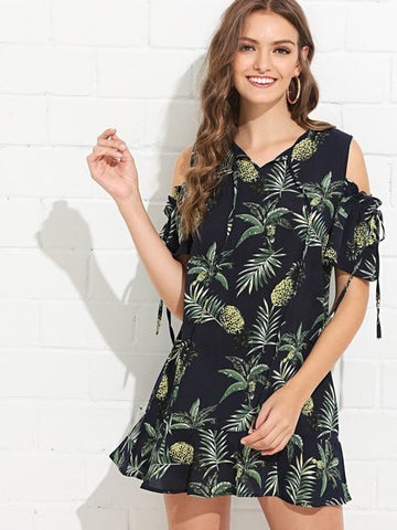Open Shoulder Pineapple Print Ruffle Hem Jumpsuit-Jumpsuit-Belle of Promise-Belle of Promise