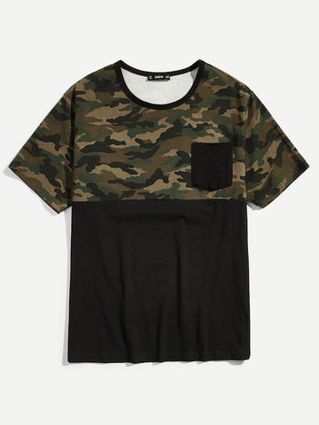 Men Cut And Sew Pocket Front Camouflage Tee