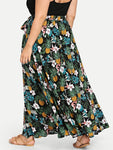 Belted Pineapple Tropical Print Skirt