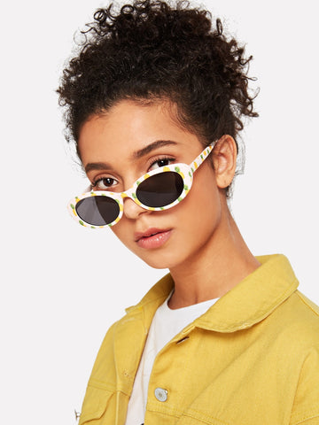 Pineapple Print Frame Sunglasses