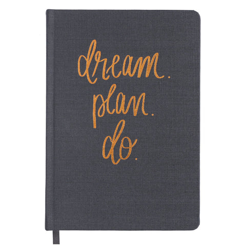 Sweet Water Decor - Dream Plan Do Grey and Rose Gold Fabric Journal