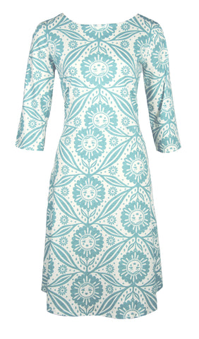 Catalina Blue Sunflower Print Fit & Flare Dress