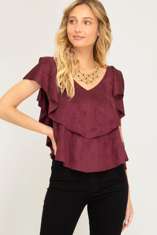 Ruffle Sleeved Top in Berry